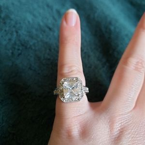 Faux Princess Cut Diamond Ring